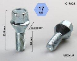 Varžtai 12x1.5  28mm kon./cink C17A28(300)
